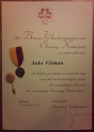 Bronzen waarderingsteken Scouting Nederland