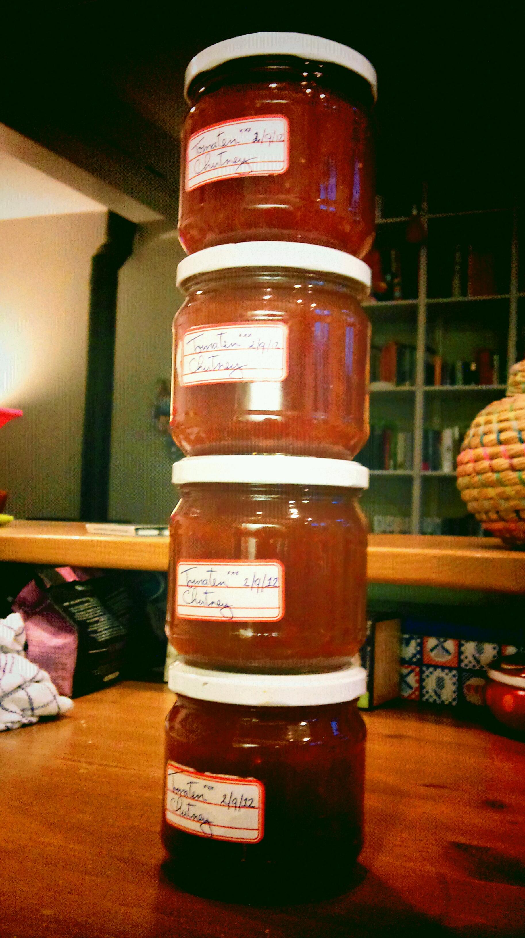 Vier homemade potjes tomatenchutney @ 02-09-2012 20:35u